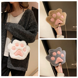 $enCountryForm.capitalKeyWord Canada - Lovely Plush Shoulder Bag Kids Girls Cartoon Mini Crossbody Bag Coin Purse Women Bear Paw Wallet Paragraph Pouch