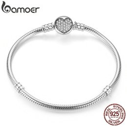 $enCountryForm.capitalKeyWord Australia - Bamoer Authentic 100% 925 Sterling Silver Classic Snake Chain Bangle & Bracelet For Women Sterling Silver Jewelry Pas916 J190719