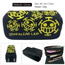 Piece Cosmetic Bag Wholesale Australia - Anime One Piece Cosmetic Bags Soul Eater Canvas School Pencil Case Student Storage Pen Bag Unisex Stationery Bag Gift