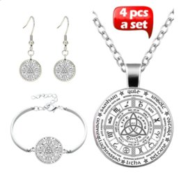 crystal wheel bracelets Canada - Celtic Wheel of The Year Glass Cabochon Necklace & Earrings & Bangle Set(Totally 4 Pcs)