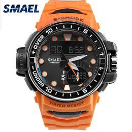 Men S Big Watch Australia - SMAEL Watch Men LED Digital Sport Watch for Man Clock S Shock 1626 Men's Wristwatch Big Dial Waterproof Orange Sports Watches
