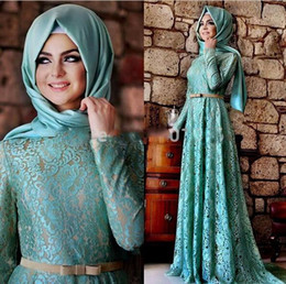 muslim hijab picture NZ - Modern 2019 Muslim Lace Evening Dresses with Hijab Gorgeous Jewel Neck Long Sleeve A Line Turquoise Lace Arabic Dress