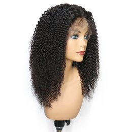 mongolian human hair wigs UK - Kinky Curly Lace Front Wigs Human Hair Glueless Full Lace Wigs For Black Women Mongolian Afro Kinky Curly Human Hair Wig