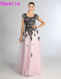 teen line dress Canada - Pink Tulle Black Lace A-line Long Modest Prom Dress With Cap Sleeves Floor Length Sweetheart Teens Modest Party Dress