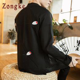 swallow coat 2019 - Zongke Chinese Style Swallow Embroidery Jacket Men Streetwear Clothes Bomber Jacket Men Hip Hop Windbreaker Coat 2019 ch