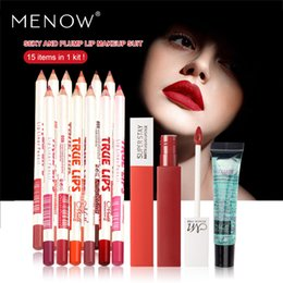 Lipstick Gel Australia - MENOW Brand Makeup set 15pcs in 1 kit Waterproof Lip liner Pencil &12 Colors Matte Lipstick &Makeup Remover Gel Free Shipping