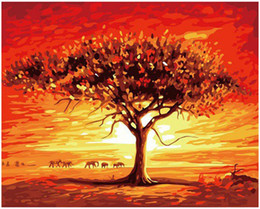 """$enCountryForm.capitalKeyWord Australia - Kits Paint DIY Painting By Numbers Oil Paint Adult Hand Painted-Elephant cluster under the red sunset tree 16""""x20"""""""