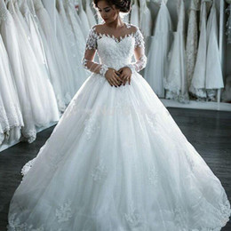 Lace Wedding Dresses Seller Australia - Ball Gown Zip Back Long Sleeves Off The Shoulder 3D Flowers Wedding Dresses Best Seller Plus Size Wedding Dresses