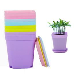 Modern Pots For Plants Australia - Mini Flower Pots With Chassis Colorful Plastic Nursery Pots Flower Planter For Gerden Decoration Home Office Desk Planting