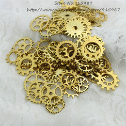 $enCountryForm.capitalKeyWord Australia - Sweet Bell Mix 200 pcs Antique gold Charms Gear Pendant Antique bronze Fit Bracelets Necklace DIY Metal Jewelry Making D0536