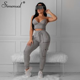 sexy workout spandex pants 2020 - Simenual Sporty Sexy Fashion Matching Women Workout 2019 Autumn Jogger Set Pocket Sleeveless Top And Pants 2 Piece Outfi