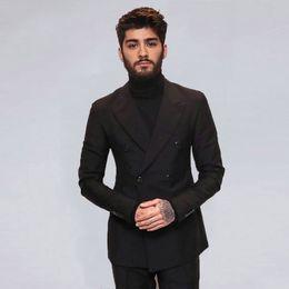 $enCountryForm.capitalKeyWord Australia - Black Men Suits Groom Wedding Tuxedos Peaked Lapel Groomsmen Blazer Man Jacket Double Breasted Costume Homme 2Piece Slim Fit Terno Masculino