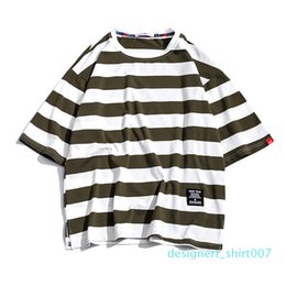 oversized striped tee NZ - Striped T Shirt Mens Coon Tshirt Tee Summer Japanese Casual T-shirts Streetwear Fitness Tees Oversized hip hopt d07