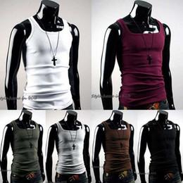 $enCountryForm.capitalKeyWord Australia - 2018 New Brand mens Slim Fit Undershirt Plain Basic Vest undershirt Clothing Bodybuilding Fitness tops