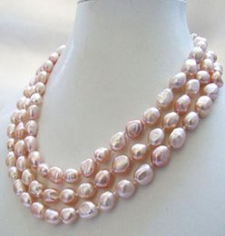 white freshwater pearl strand necklace UK - Hot sale Noble-3 strands of real nature purple baroque freshwater pearl necklace 9-11mm