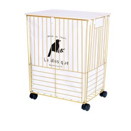 Dirty hamper wrought iron gold Nordic dirty clothes storage basket large with cover bathroom dirty clothes toy storage basket T200224 on Sale