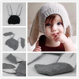 Wholesale Knit Infant Beanies Australia - Baby Rabbit Ear cap Kids Beanies Infant Warm Knitted plush Hats warmer Winter crochet Photography Props Hat 20pcs AAA1611