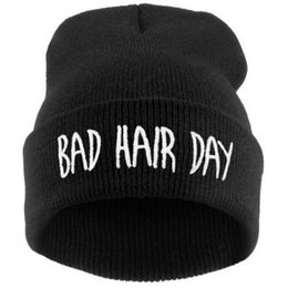 $enCountryForm.capitalKeyWord NZ - Hot sale fashion winter casual women hat bad hair days Knitted Soft Elastic skullies beanie hats for women men free Shipping