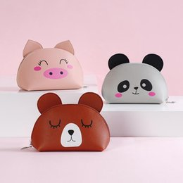 Leather Travel Cosmetic Bag Case Australia - Cartoon Brown bear Women Cosmetic Bag PU Leather Travel Make Up Necessaries Organizer Zipper Makeup Case Pouch Toiletry Kit Bag