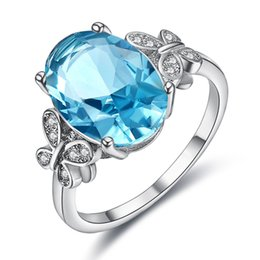 Great Bows Australia - New jewelry Korean version exaggerated lady's bow egg-shaped blue jewel ring hand ornament fashion style 2019