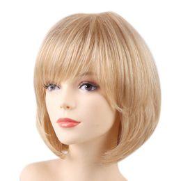 $enCountryForm.capitalKeyWord UK - 32cm 13inch Fashion Human Hair Wig Bob Blonde Bangs Full Wigs Heat Resistant>>>>Free shipping New High Quality Fashion Picture wig
