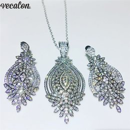 $enCountryForm.capitalKeyWord Australia - vecalon Female Luxury Jewelry Sets S925 Sterling Silver Filled Pave Diamond Wedding Engagement Earrings Necklace For Women Bridal Gift