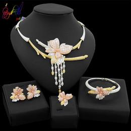 $enCountryForm.capitalKeyWord Australia - Yulaili Luxury Trendy Silver Plated Crystal Flower Pendant Necklace Earrings Bracelet Ring for Women Nigeria Wedding Dubai Gold Jewelry Sets