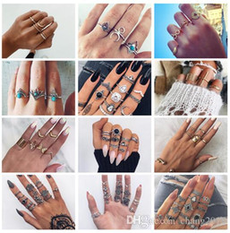 $enCountryForm.capitalKeyWord Australia - 20 styles Retro Flower Infinite Knuckle Rings For Women Vintage Geometric Pattern Crystal Rings Set Party Bohemian Jewelry ALXX