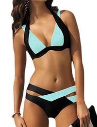 Wholesale new high waisted swimsuit online – New Sexy Bikinis Women Swimsuit High Waisted Bathing Suits Swim Halter Push Up Bikini Set Plus Size Swimwear XL