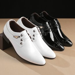 mens black lace up oxfords NZ - Mens Dress Shoes Fashion Pointed Toe Lace Up Men's Business Casual Shoes White Brown Black Leather Oxfords Plus Size 36-45