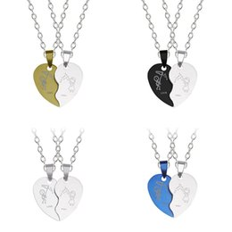 pendant couple boy girl NZ - DIY Europe And America Stainless Couple Color Heart-shaped Boy Girl Necklace Pendant Steel Chain Jewelry Gift Dropshipping 2019