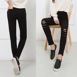 White Leggings Holes Australia - New Multi-hole wear leggings spring and autumn thin women tight pants high waist large size pants