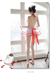 Wholesale size Talk to me privately Lingerie secret buckle can open crotch jumpsuit nurse to wear uniform seductive net gauze transparent cloak skir