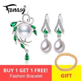 $enCountryForm.capitalKeyWord Australia - Fenasy Pearl Jewelry Sets,pearl Pendant Necklace Earrings For Women ,bohemian 925 Sterling Silver Emerald Leaf Big Earrings Set J190628