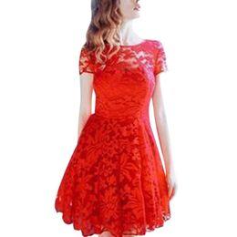 Sexy Lace Clothes UK - Summer Sexy Women Floral Lace Dress Short Sleeve O-neck Casual Mini Dresses Plus Size S M L Xl designer clothes
