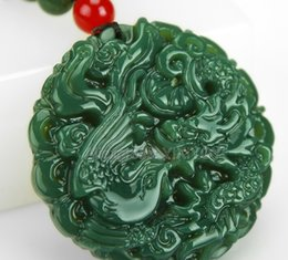 $enCountryForm.capitalKeyWord Australia - Beautiful Natural Green Hetian Jade Carved Chinese Dragon Phoenix Amulet Lucky Pendant + Free Necklace Certificate Fine Jewelry MX190816