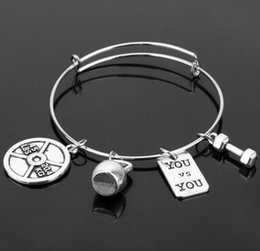 $enCountryForm.capitalKeyWord Canada - Fitness Bangle Expandable Cable Wire Bangle Adjustable Friendship Luxury Designer Jewelry Bracelet Message Dumbbell Barbell Charm Bracelets
