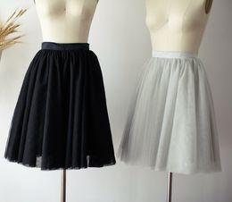 mini bridesmaid tutu dresses 2019 - Prom Dress Silver Tulle Skirt Short Women Tulle Skirt Chic Tutu Skirt Faldas Saia Jupe Knee Length Bridesmaid Skirts TS0