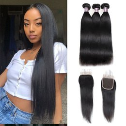 "wholesale straight human hair weave 2019 - Indian Hair Yaki Deep Loose Body Wave With 4*4 Lace Closure 8-28"" Straight Human Hair Bundles with Closure Water Wa"