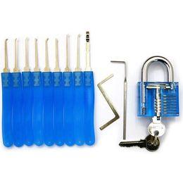 Locksmith Padlock Pick Tools Australia - 9 PCS Lock Pick Tools + Transparent Visible Pick Cutaway Practice Padlock Lock Locksmith Tool