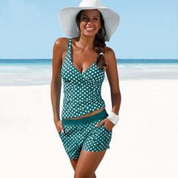 d57aac0816509 2019 Plus Size Swimwear Women Tankini Swimsuits High Waisted Bathing Suits  Polka Dot Swimsuit Vintage Retro Bikini Set Beachwear
