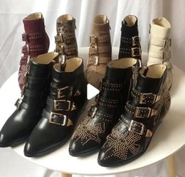 Studded low heelS online shopping - Beat Designer boots Susanna leather Suede Ankle Boots Martin shoes women Studded Leather Buckle combat boots colors big size with box