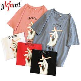 $enCountryForm.capitalKeyWord NZ - gkfnmt Fashion T shirt Women T-Shirt Summer Short Sleeve Plus Size Tshirt Female Top Vintage Print Pink White Tee Shirt 2019