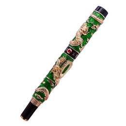 $enCountryForm.capitalKeyWord UK - Luxury Jinhao Green Cloisonne Double Dragon Fountain Pen Iridium M Nib Advanced Craft Writing Gift Pen for Business Graduate