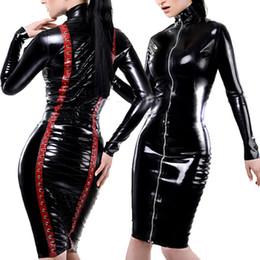$enCountryForm.capitalKeyWord Australia - New Leather Pencil Dress Sexy Black PVC Leather Gothic Midi Dress Lace-Up Bondage Tight Catsuit Fetish Latex Clubwear Costume