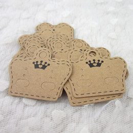 $enCountryForm.capitalKeyWord Australia - 100PCS DIY Paper Handmade Stud Earring Tag Crown Shape Small Cute Earring Packing Display Tag Card