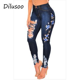 $enCountryForm.capitalKeyWord Australia - Dilusoo Embroidery Women Jeans Pants Holes High Waist Elastic Jeans Thin Denim Pencil Pants Woman Casual Ladies Spring Trousers