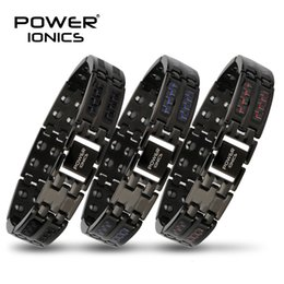 power beads bracelets Australia - Power Ionics Mens black blue red carbon fiber 100% Pure Titanium Magnetic Therapy Bracelet Wristband improve blood circulation SH190925
