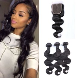 Discount malaysian hair weave for sale - 4x4 Lace Closure Body Wave Free Part With 3bundles Hot Sale 4pcs Virgin Human Hair For Black Women Wholesale Cheap G-EAS