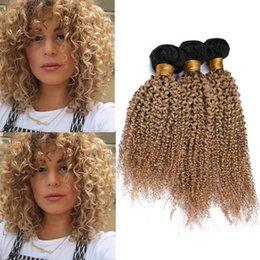"$enCountryForm.capitalKeyWord Australia - #1B 27 Honey Blonde Ombre Kinky Curly Virgin Brazilian Human Hair Bundles 3Pcs Light Brown Ombre Human Hair Weave Wefts Dark Roots 10-30"""